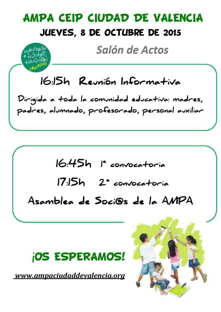 Cartel Reunión y Asamblea AMPA 8 de octubre 2015