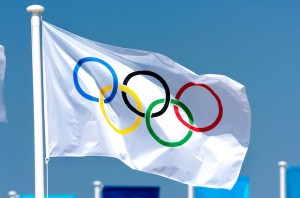 The Olympic Flag flying over  the Markopoulo Equestrian Center at the  Athens 2004 Olympics in Greece.