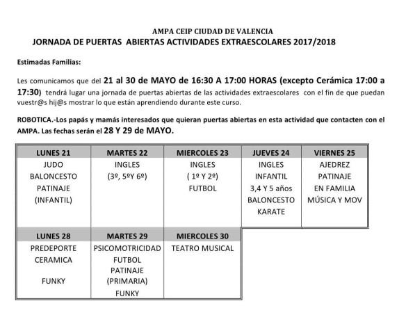 JORNADA DE PUERTAS ABIERTAS ACTIVIDADES EXTRAESCOLARES 2017-1